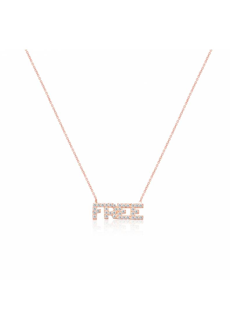 """FREE"" CZ STERLING SILVER NECKLACE"