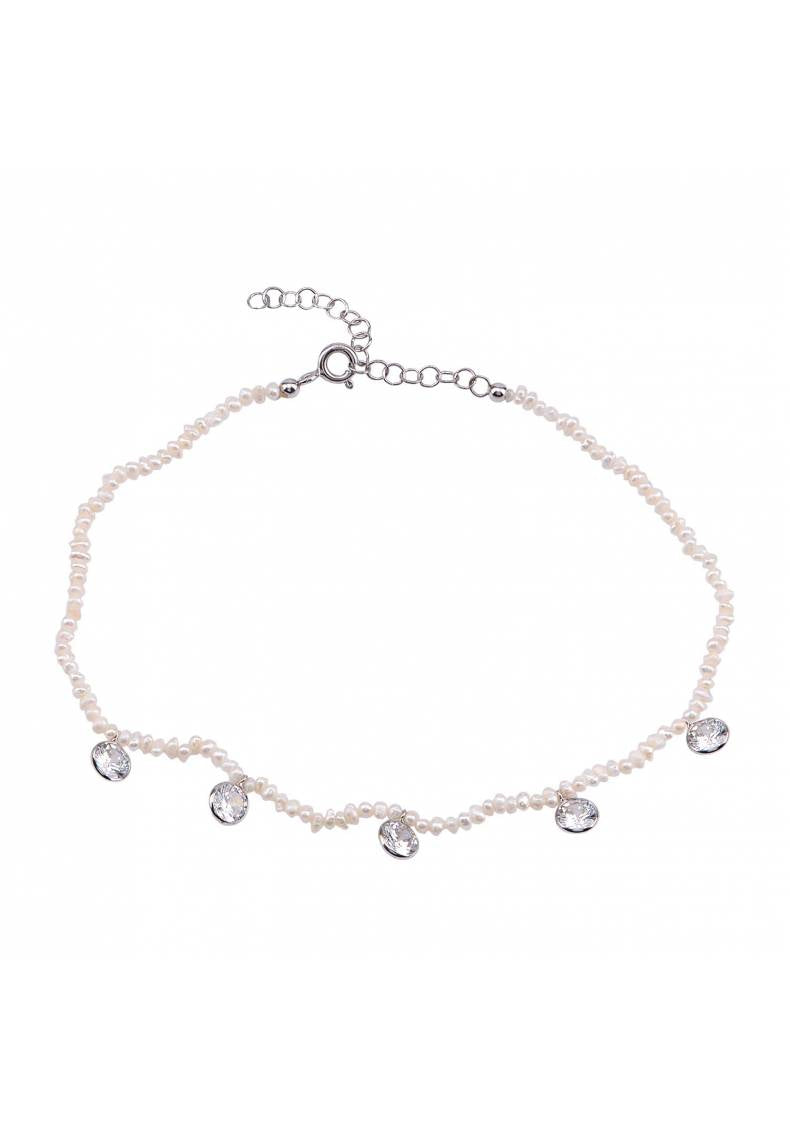 NATURAL STONE DROP CZ BEADED ANKLET
