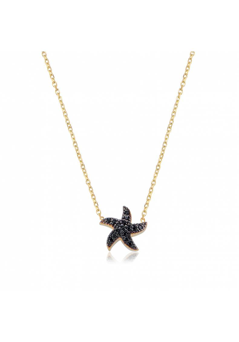 BLACK STONE STARFISH NECKLACE