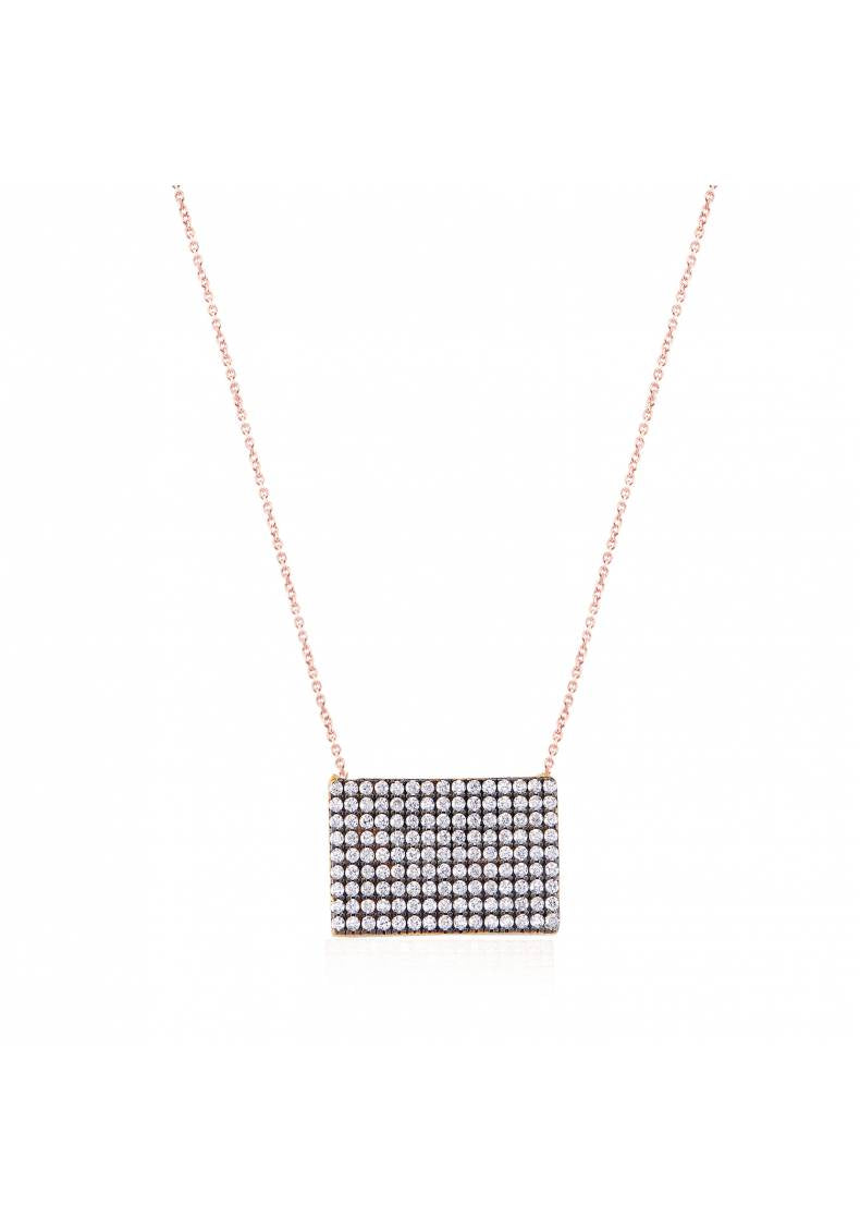 RECTANGLE CZ PAVE SILVER STONE NECKLACE