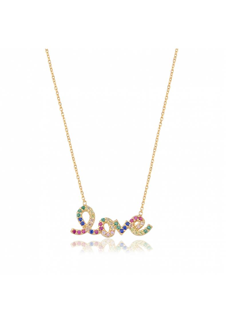 STERLING SILVER LOVE RAINBOW NECKLACE