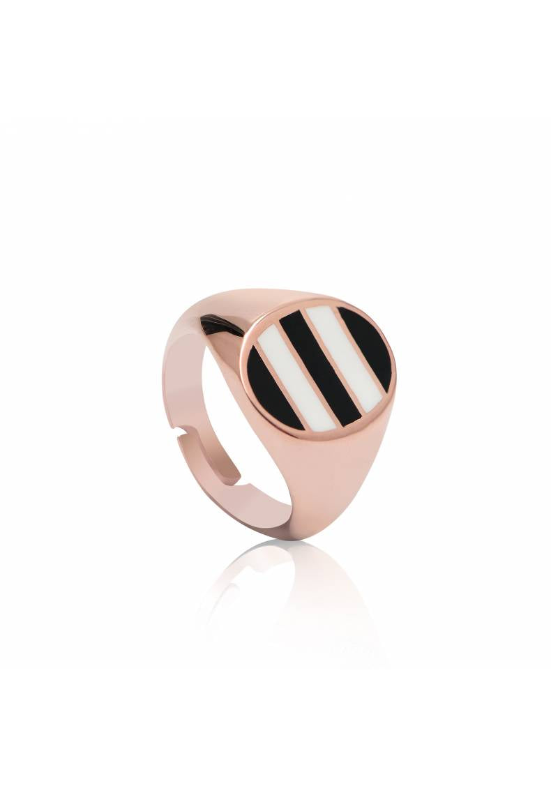 BLACK AND WHITE ADJUSTABLE STRIPED RING