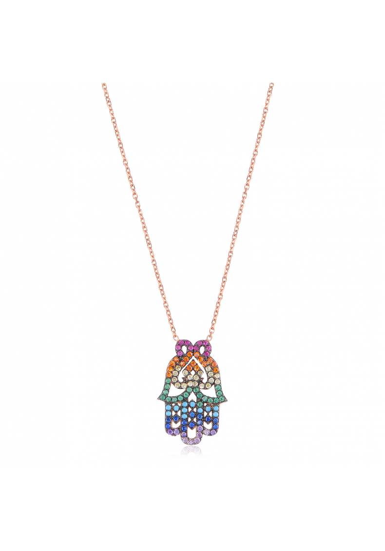 STUNNING RAINBOW HAMSA PAVE NECKLACE