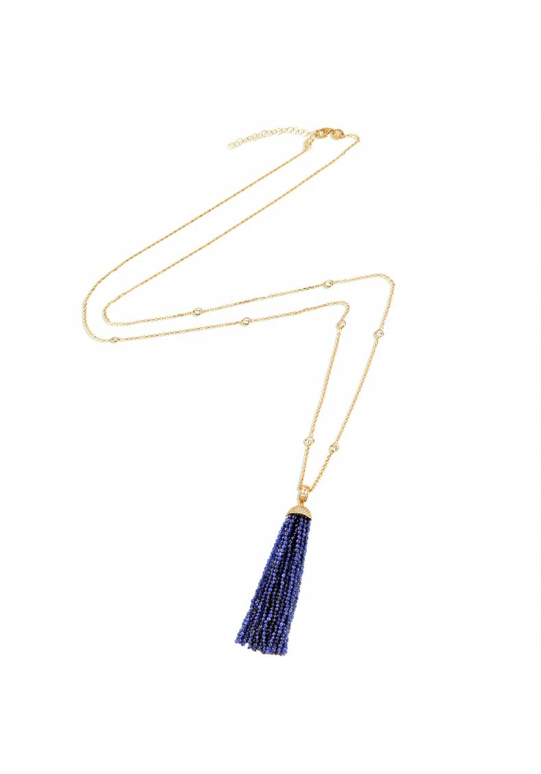 BEADED LONG NAVY TASSLE