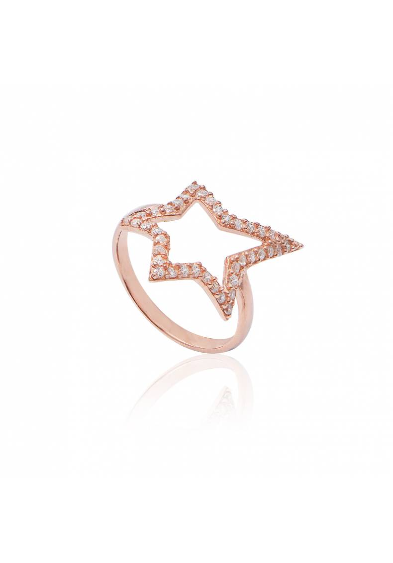 OPEN STAR PAVE RING