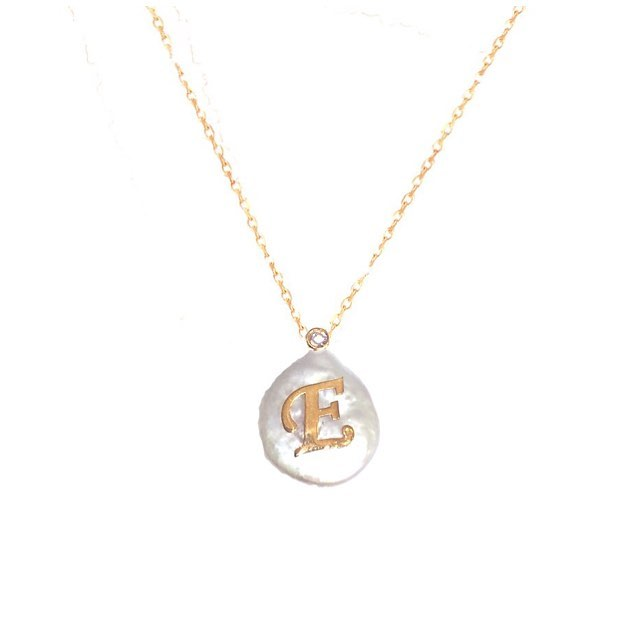 BAROQUE PEARL CZ STERLING SILVER INITIAL NECKLACE
