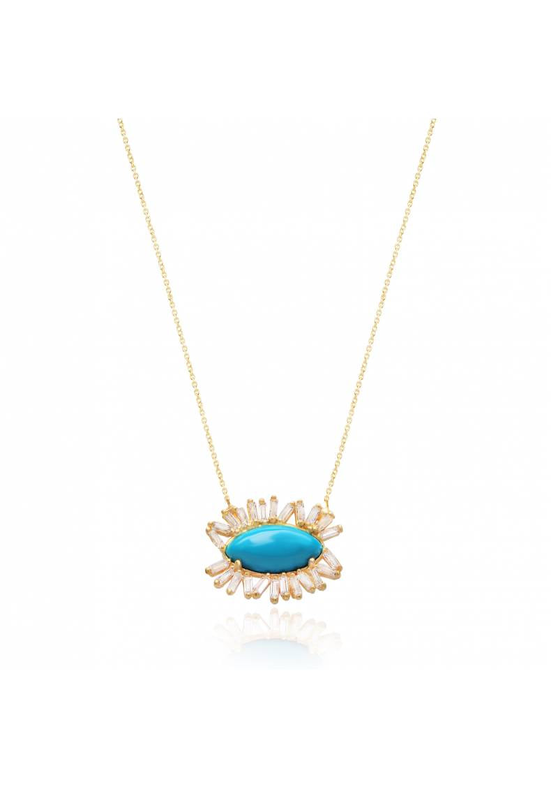 BAGUETTE ZIRCON EYE NECKLACE