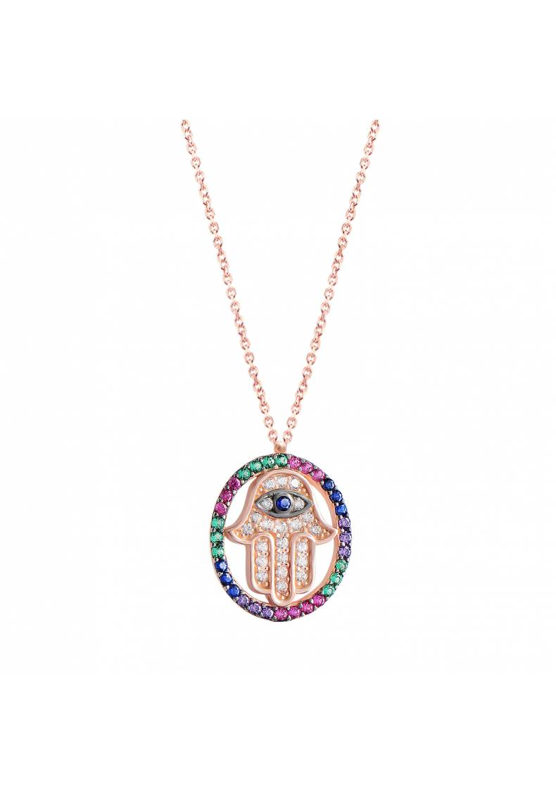 RAINBOW HAMSA EYE PENDANT NECKLACE