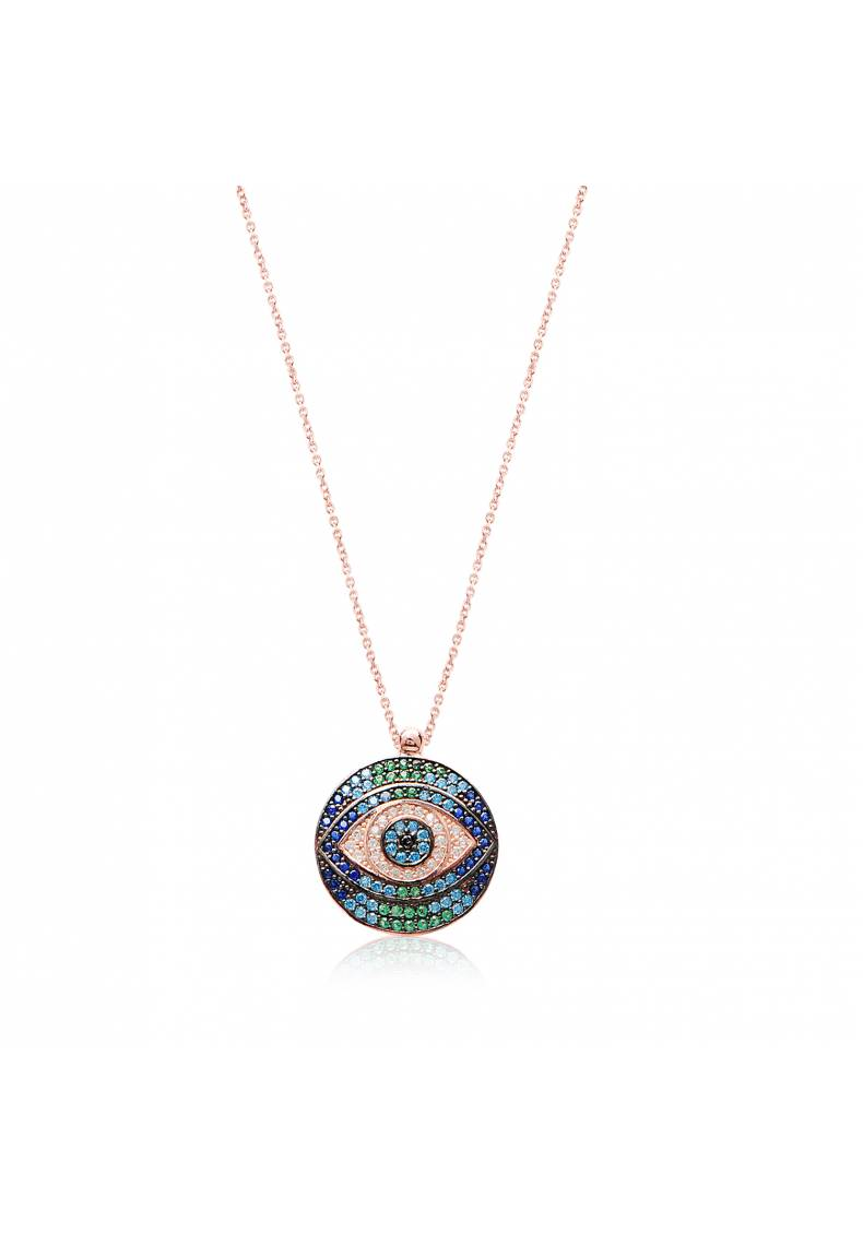 BLUE GREEN STONE EYE PENDANT NECKLACE