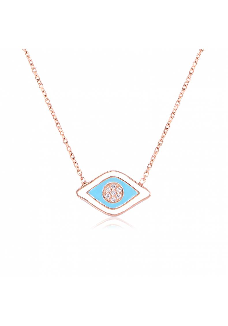 TURQUOISE ENAMEL EYE NECKLACE