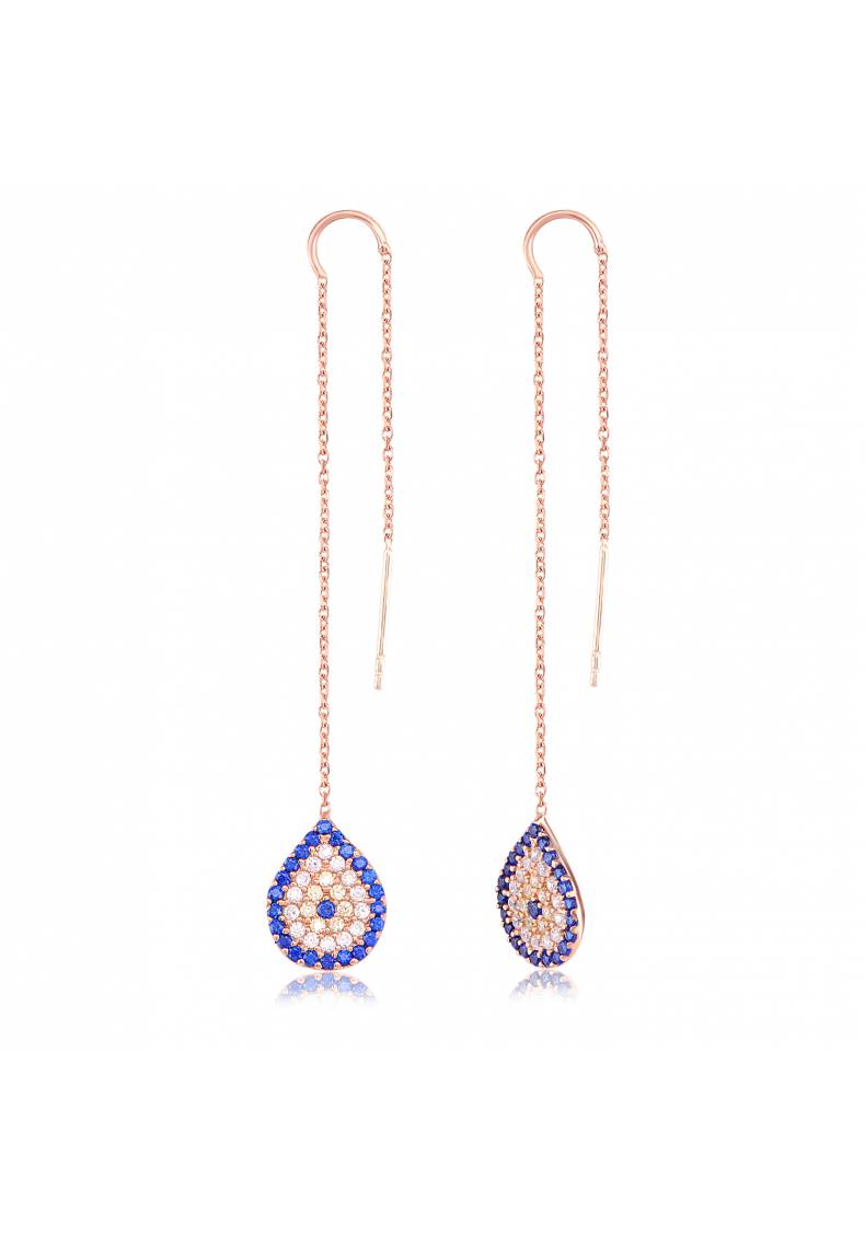 EVIL EYE DROP CHAIN EARRINGS