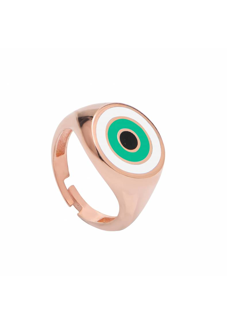 Round Sterling Silver Green Eye Ring