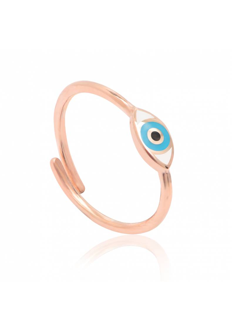 ENAMELED EVIL EYE PINKY RING