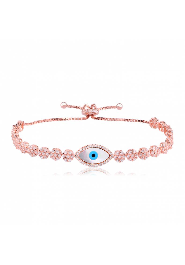 EYE BRACELET CZ FLOWERS