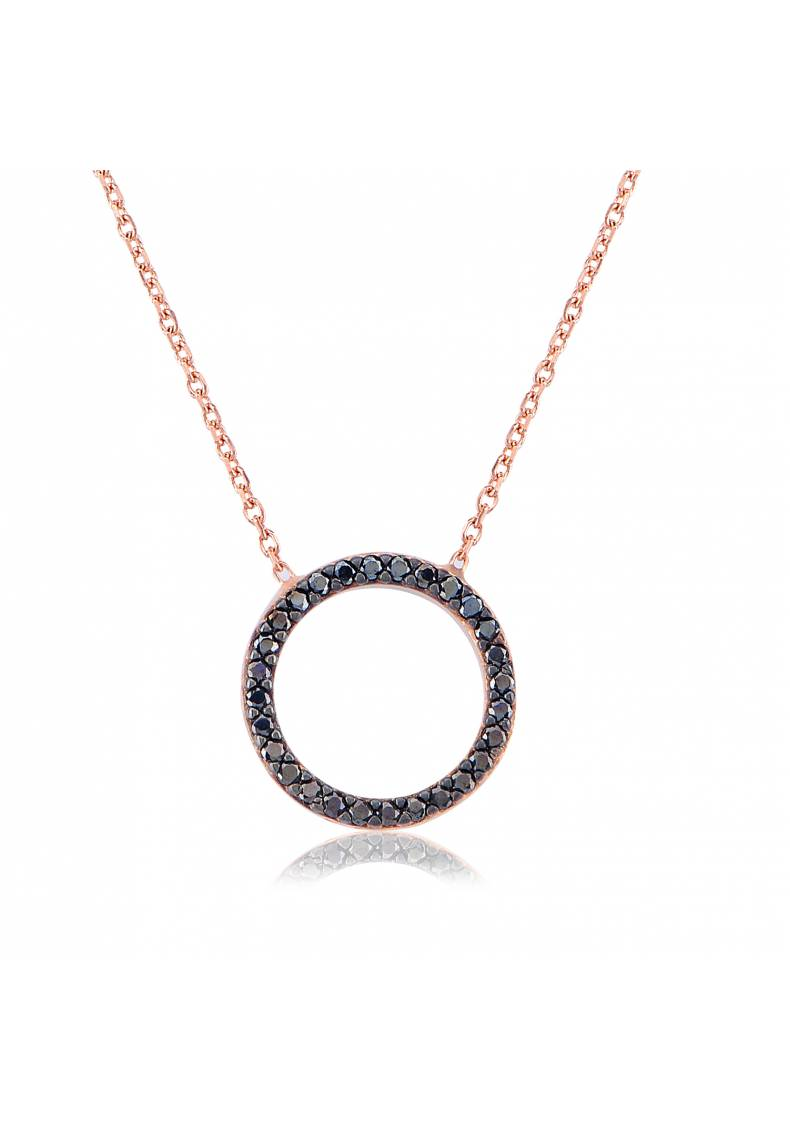 ROUND BLACK STONE STERLING SILVER NECKLACE