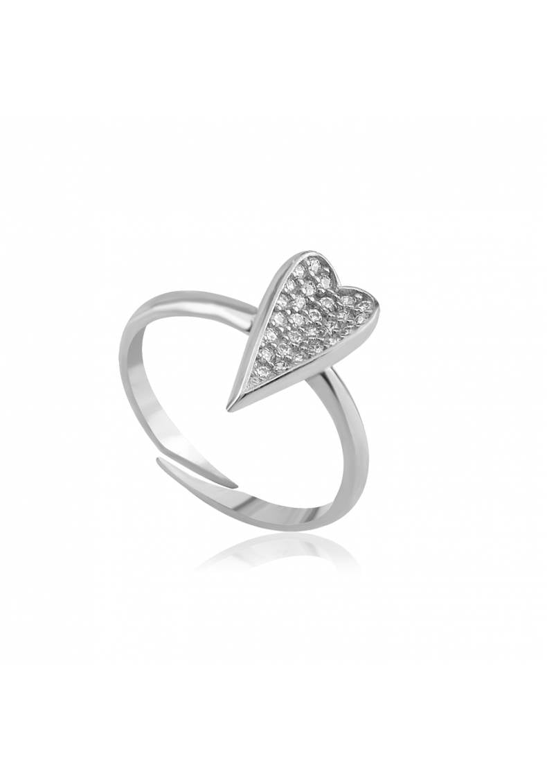STERLING SILVER ADJUSTABLE HEART RING