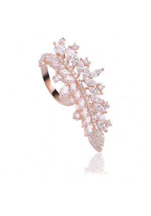 CASCADING STERLING SILVER CZ RING