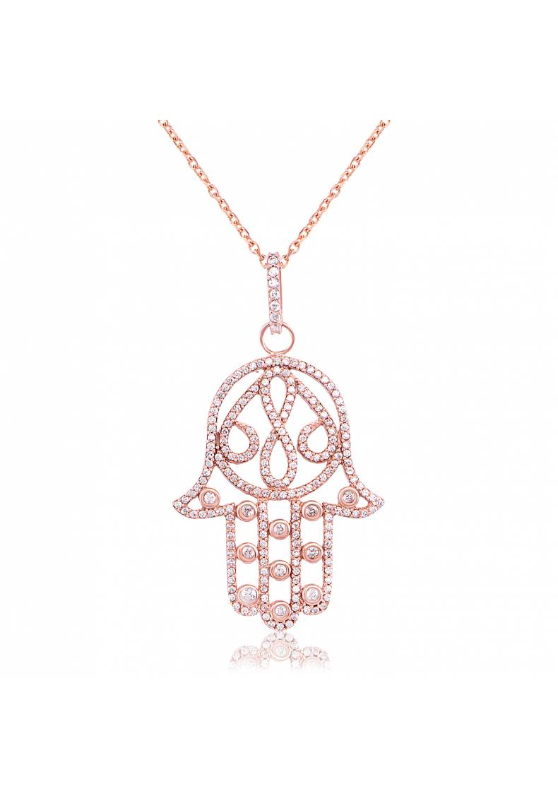 HAMSA PAVE WHITE STONE PENDANT NECKLACE