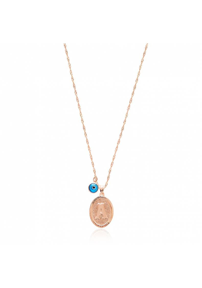 INITIAL COIN PENDANT NECKLACE WITH NAZAR