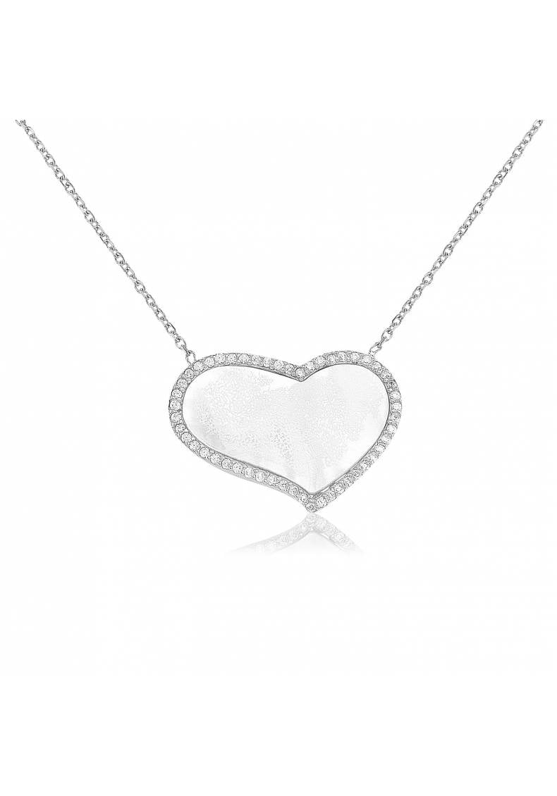 SILVER CURVED HEART NECKLACE