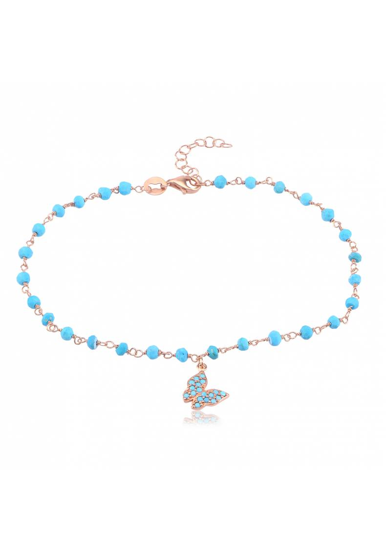 TURQUOISE BEADED BUTTERFLY ANKLET