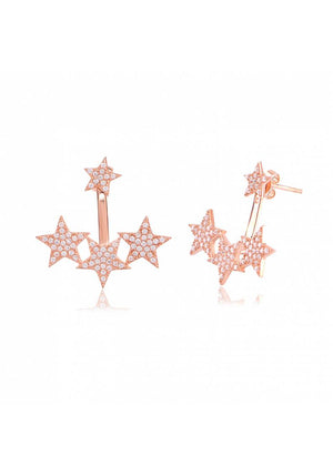 TRIPLE STAR CZ EARRINGS