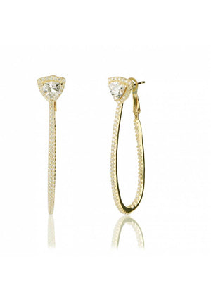 TRIANGLE CZ PAVE LONG EARRING