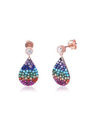 RAINBOW CZ DROP EARRINGS