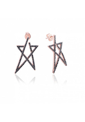 STERLING SILVER OPEN STAR EARRING