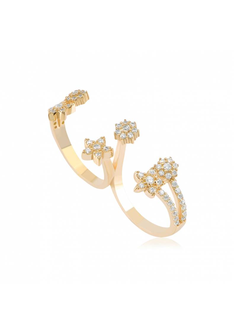 DOUBLE CZ FLOWER RING