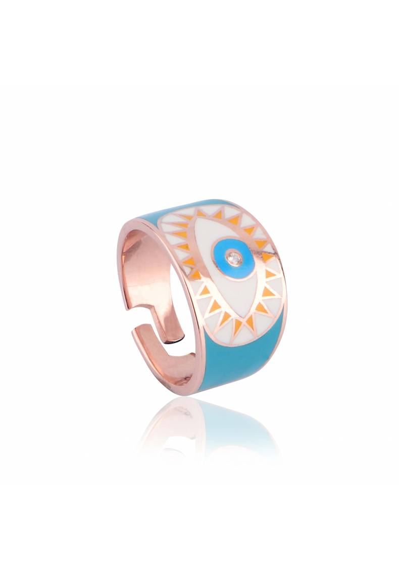 EVIL EYE NAZAR BLEU PINKY RING