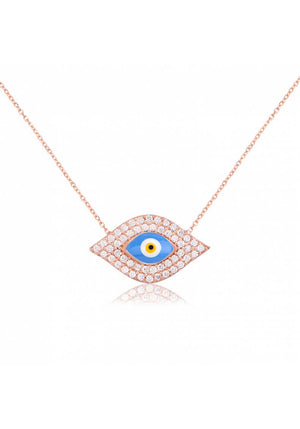 EVIL EYE SHAPED CZ NECKLACE
