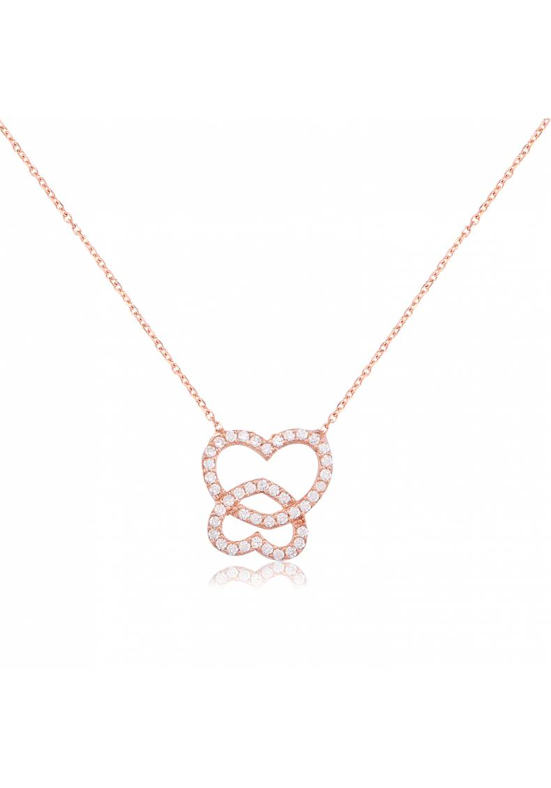 NESTED HEARTS PAVE NECKLACE