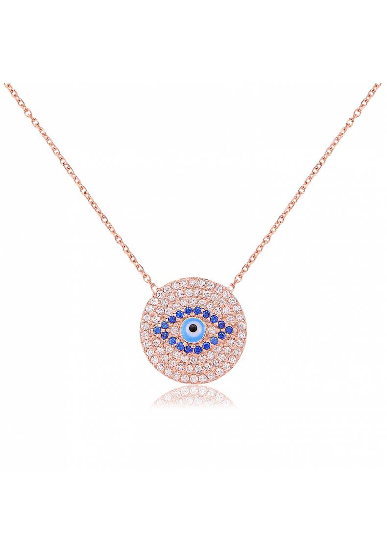ROUND EVIL EYE STERLING SILVER NECKLACE