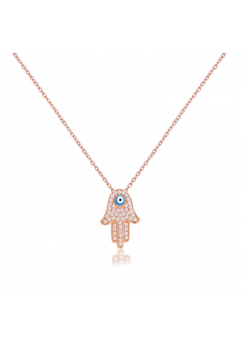 HAMSA BLUE EYE WHITE STONE NECKLACE