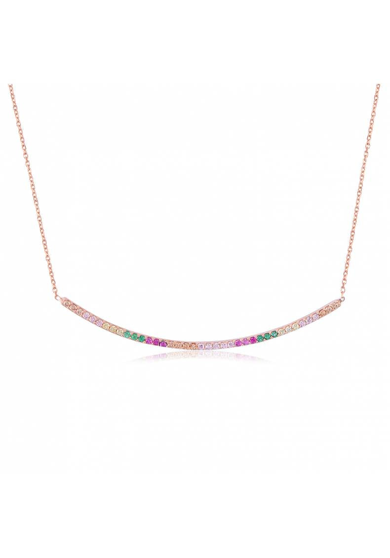 RAINBOW PAVE KAYAK NECKLACE
