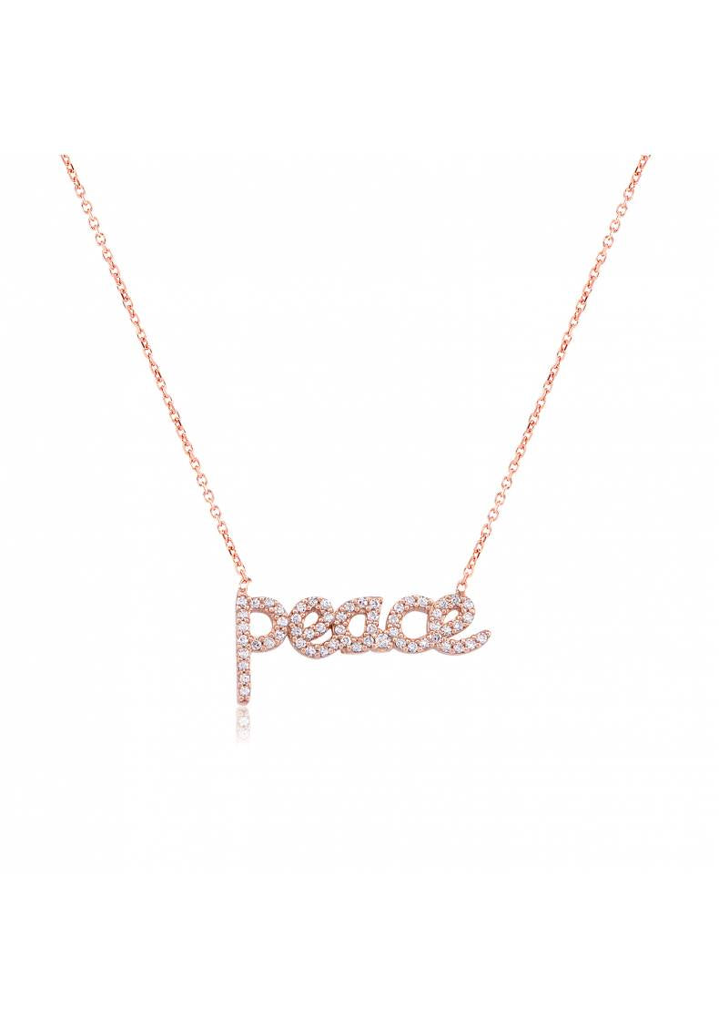 """PEACE"" CZ STERLING SILVER NECKLACE"