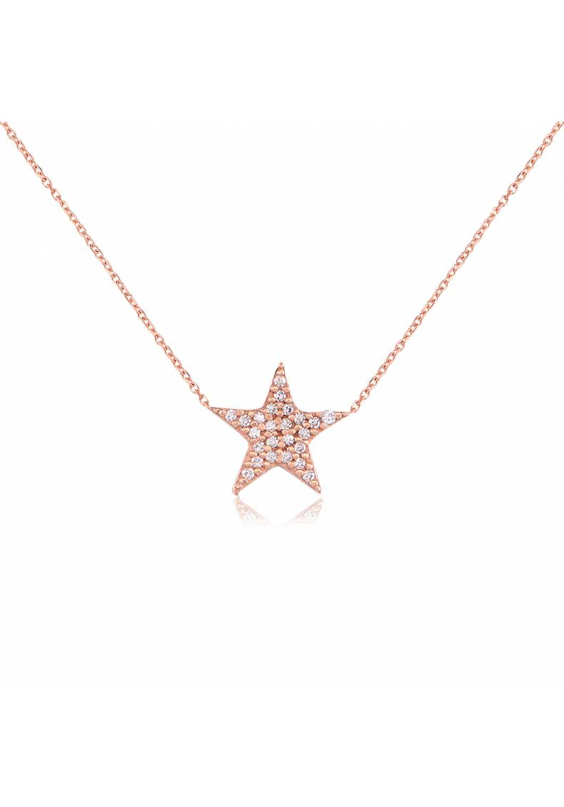 WHITE STONE STAR NECKLACE
