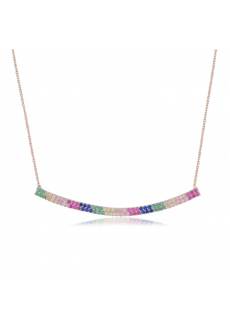 RAINBOW DOUBLE PAVE NECKLACE