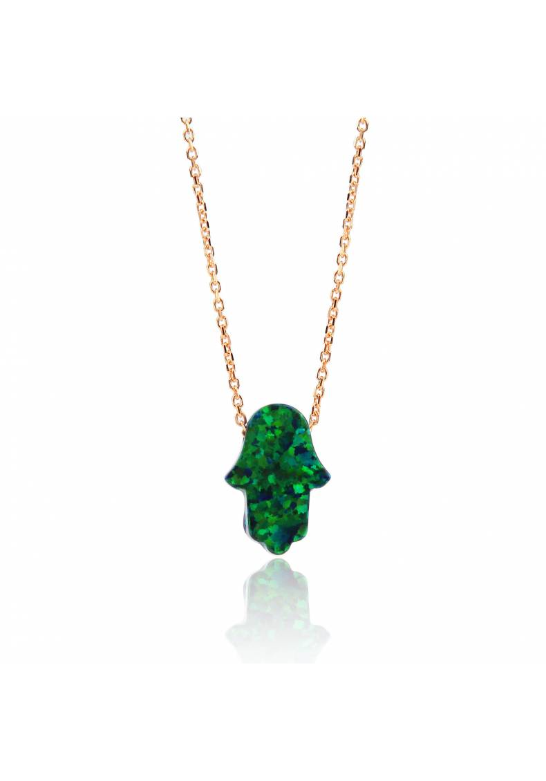 EMERALD OPAL HAMSA NECKLACE
