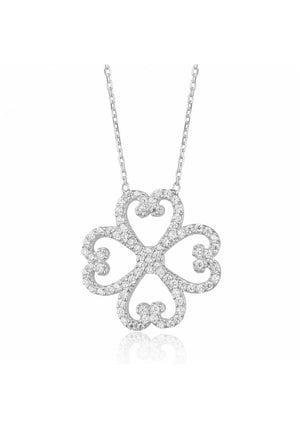 HEART FLOWER PAVE NECKLACE