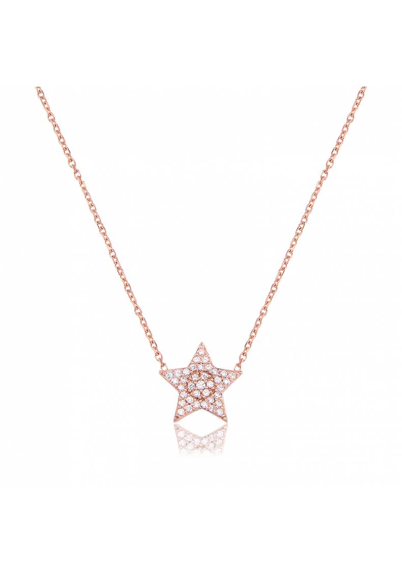 WHITE STONE PAVE STAR NECKLACE