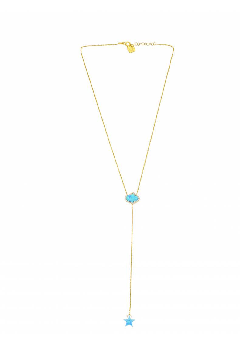 OPAL HAMSA AND STAR LARIAT NECKLACE