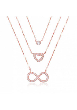 TRIPLE HEART INFINITY STERLING SILVER NECKLACE