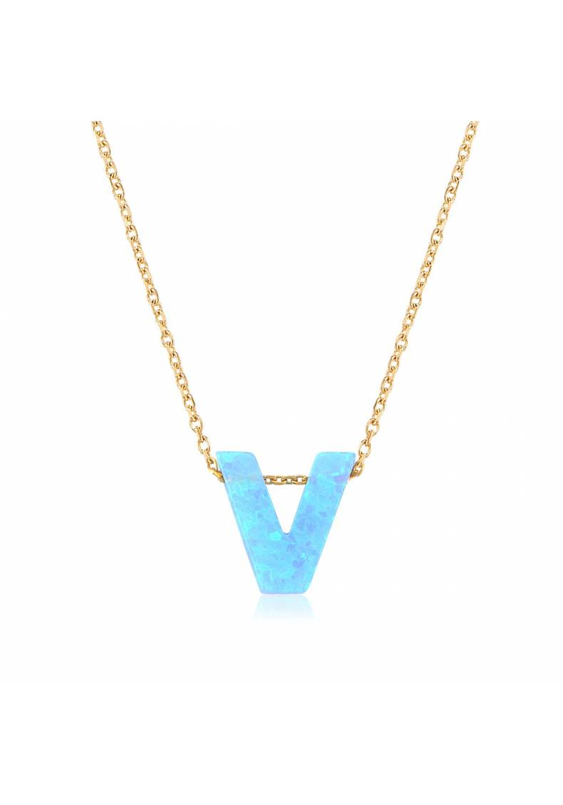 PERSONALIZED OPAL INITIAL NECKLACE