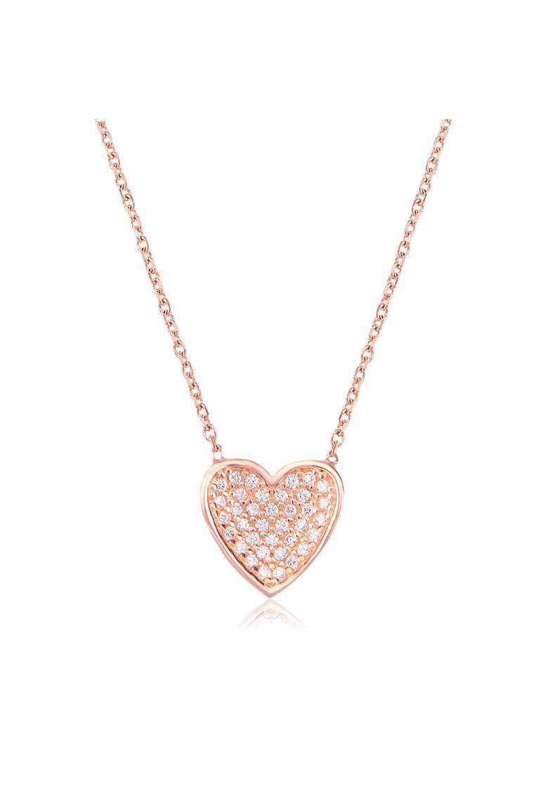 STERLING SILVER PAVE HEART NECKLACE