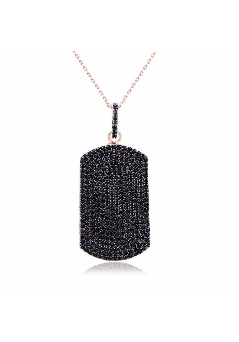BLACK STONE DOG TAG NECKLACE