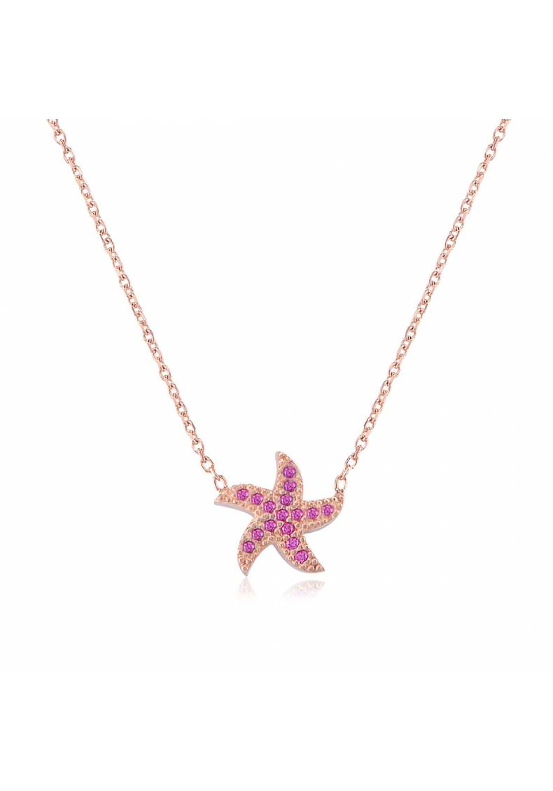 PINK STONE STARFISH NECKLACE