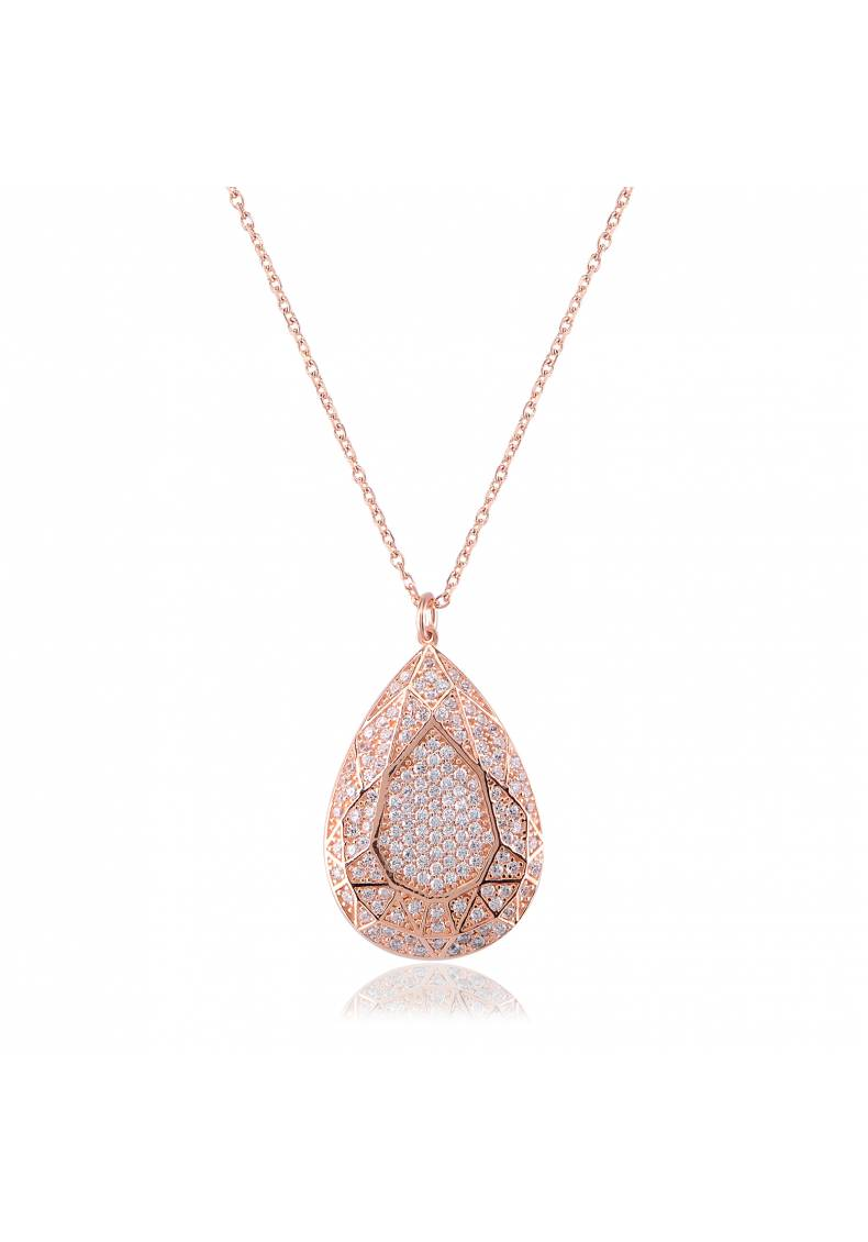 PAVE WHITE STONE DROP NECKLACE