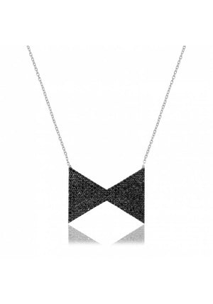 BOW TIE BLACK STONE NECKLACE